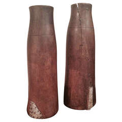 Pair of Tall Wooden Ethiopian Milk Holders