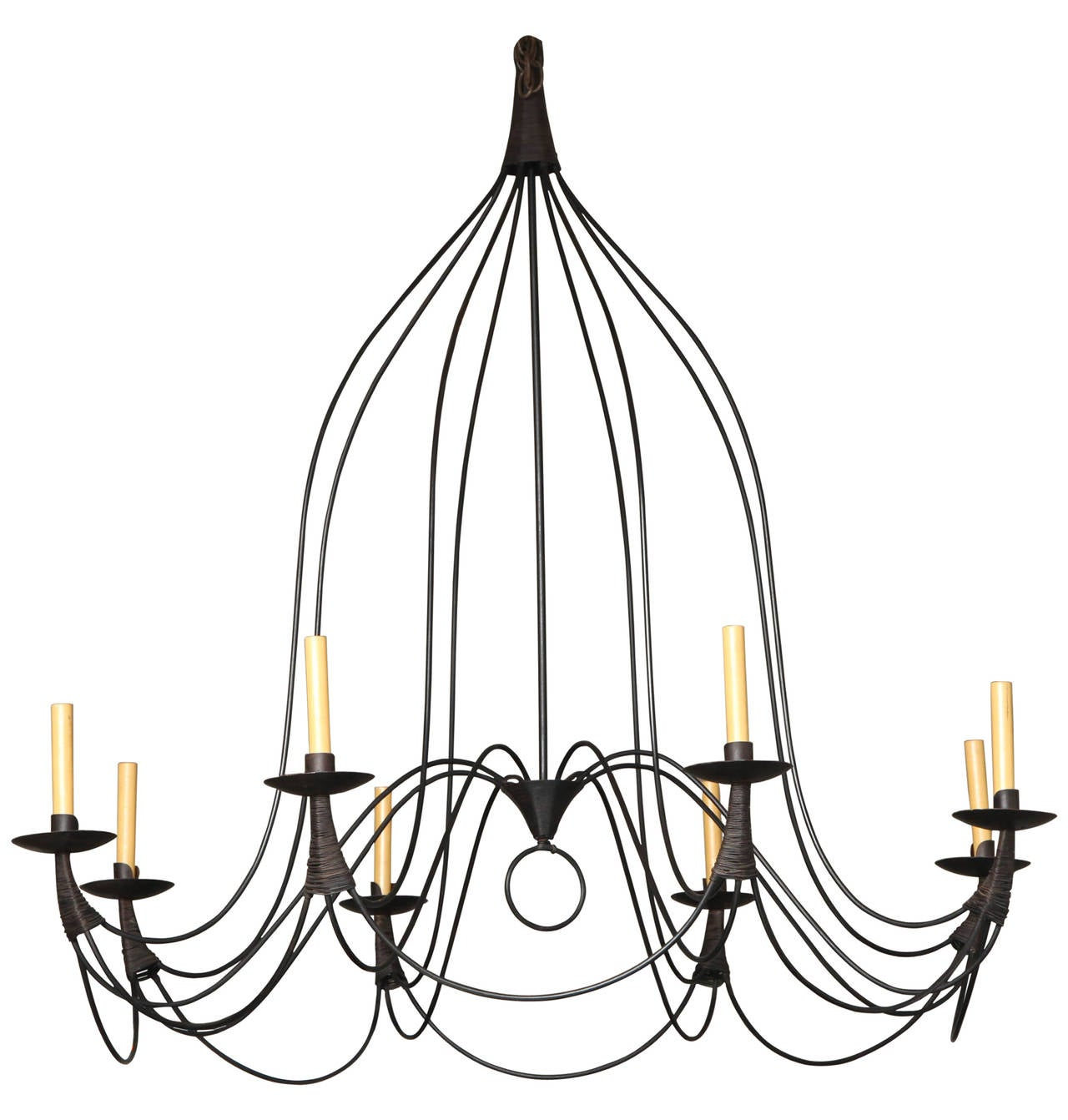 Midcentury Black Iron Eight Arm Chandelier at 1stdibs