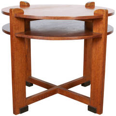 1930s Dutch Modernist Oak Side Table with Shelf