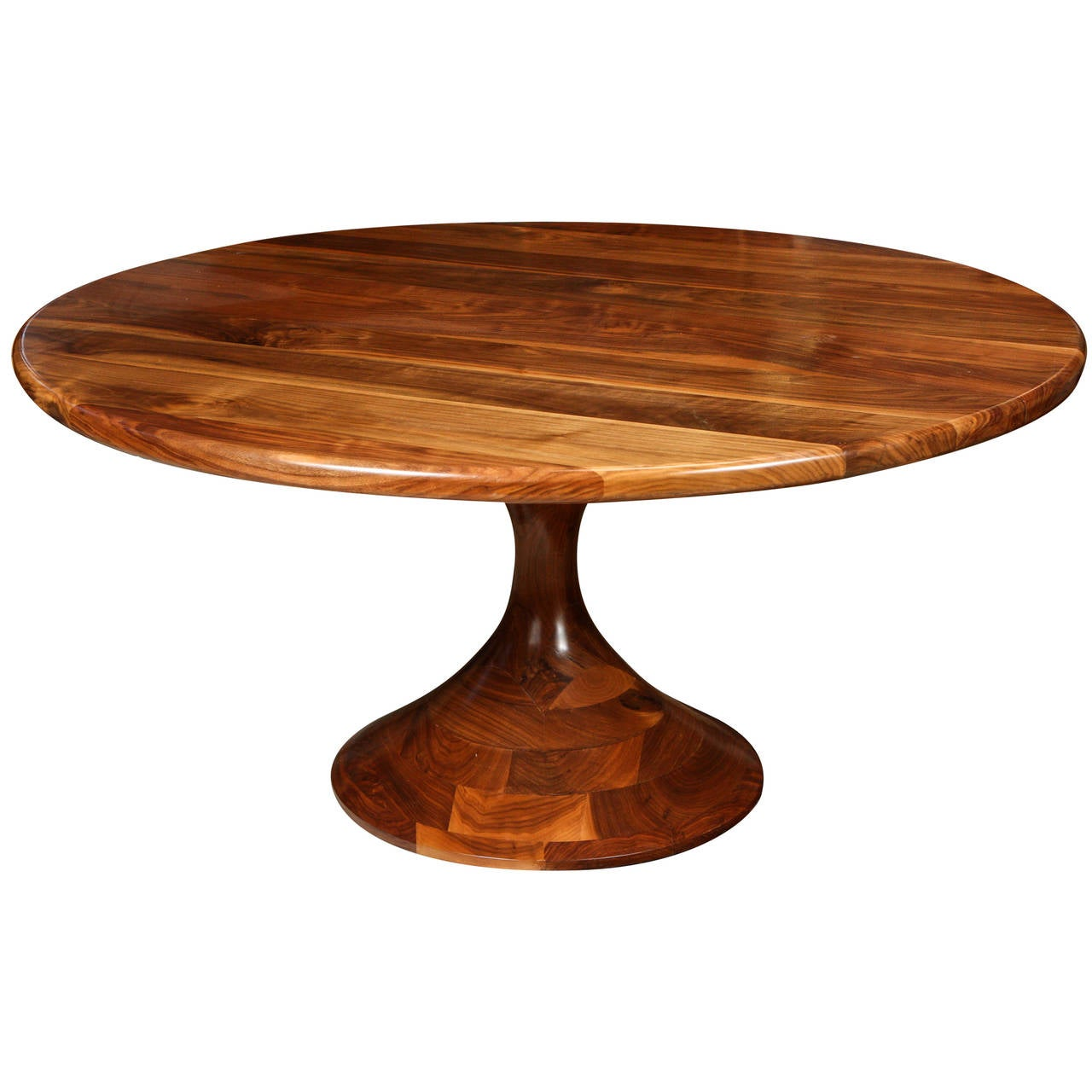 American black walnut pedestal dining table by michael for Black dining table