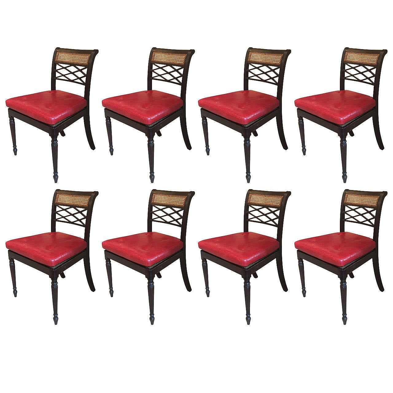 Set of eight regency ebonized dining chairs at 1stdibs for Regency dining room