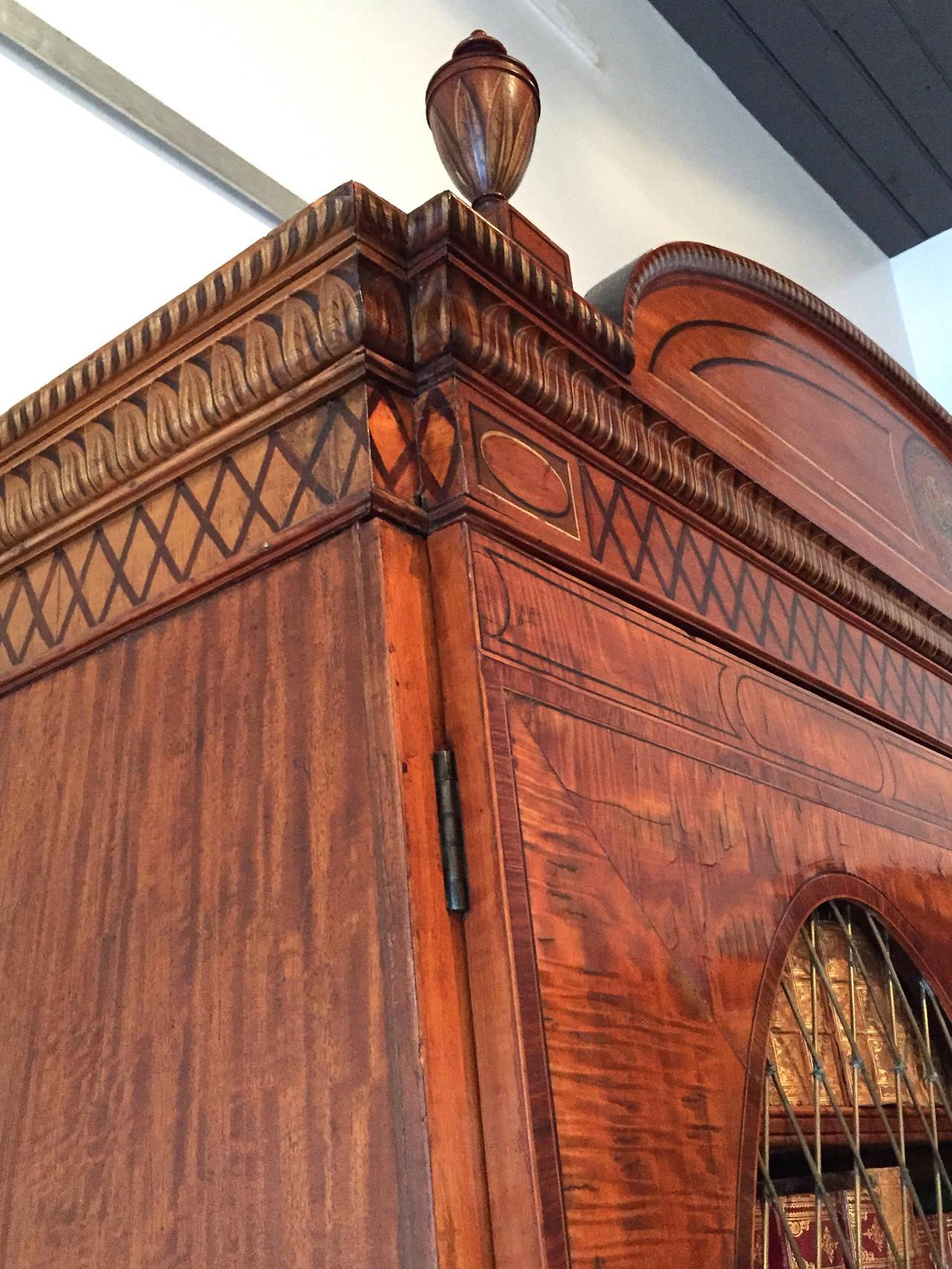 Fine Hepplewhite Decorated Inlaid Satinwood & Mahogany Two-Part Bookcase Cabinet 2