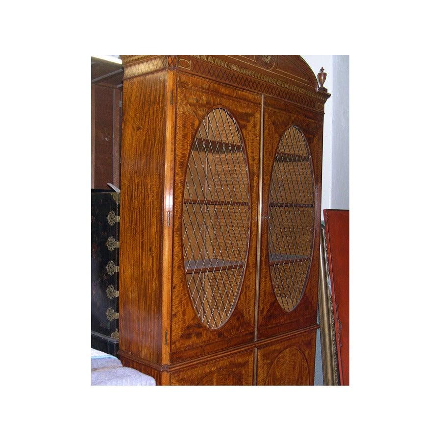 British Fine Hepplewhite Decorated Inlaid Satinwood & Mahogany Two-Part Bookcase Cabinet
