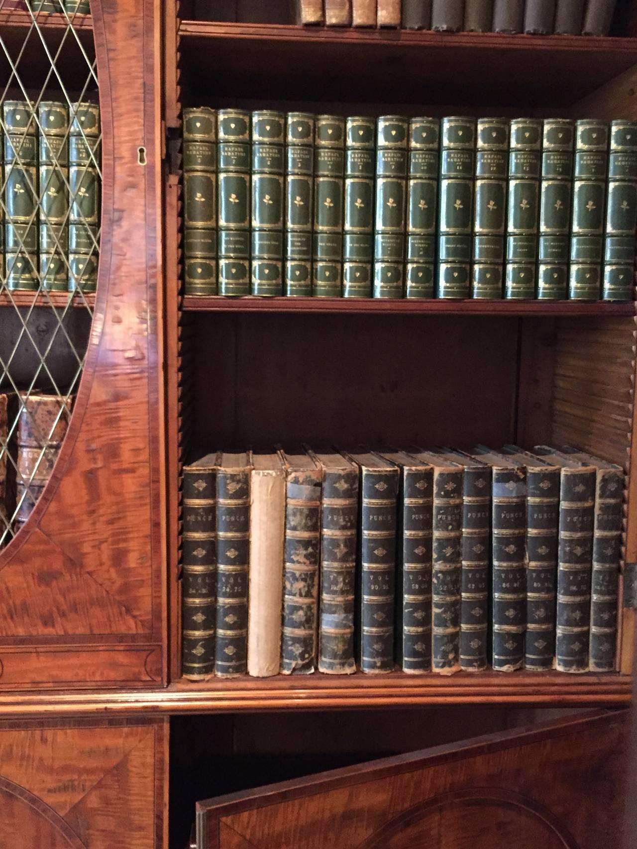 Inlay Fine Hepplewhite Decorated Inlaid Satinwood & Mahogany Two-Part Bookcase Cabinet