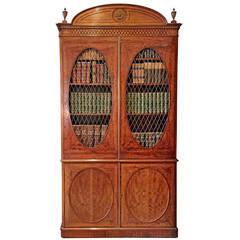 Fine Hepplewhite Decorated Inlaid Satinwood & Mahogany Two-Part Bookcase Cabinet
