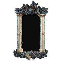 Rocaille Parcel-Gilt and Copper Glazed Ceramic Mirror by Eve Kaplan
