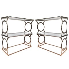 Pair of Metal & Glass Console Tables