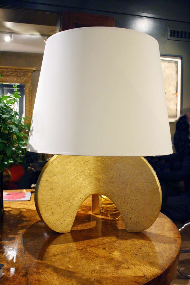 Large hand-coiled ceramic claw lamp by Andrea Koeppel. Custom vellum shades included. Total height with shade: 28 inches. Width of lamp base: 21 inches. Available as custom order.