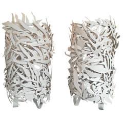 Pair of Gessoed Steel Seaweed Lamps