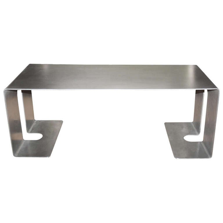 Polished Steel Low Table by Gerald Bland