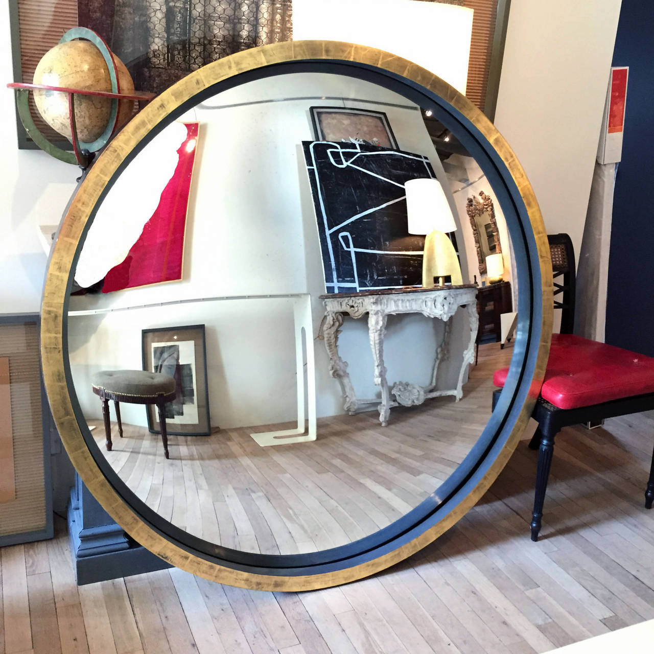 Convex Wall Mirror neoclassical grey bole and giltwood convex mirror at 1stdibs