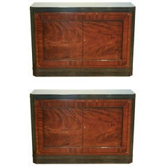 Pair of Mahogany and Patinated Steel Cabinets