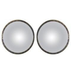 Pair of Circular Giltwood Mirrors