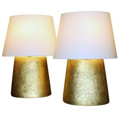 Pair of Hand-Coiled Gilded Ceramic Flat Back Lamps