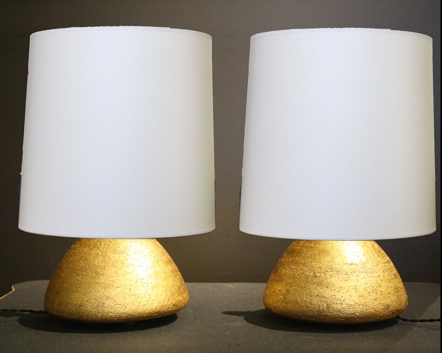 Gilt Pair of Gilded Ceramic Gumdrop Lamps by Andrea Koeppel For Sale