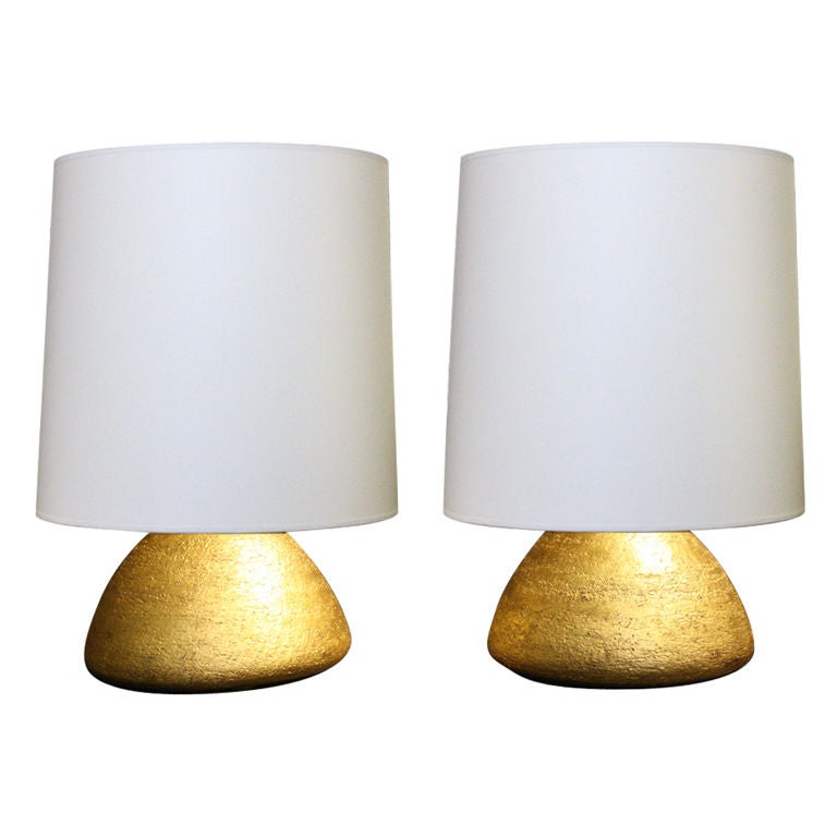 Pair of Gilded Ceramic Gumdrop Lamps by Andrea Koeppel