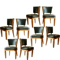 Set of Eight Dining Chairs by Paul Follot