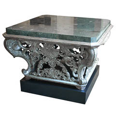 Baroque, Silver Gilt Center Table with Contemporary Faux Marble-Top and Plinth