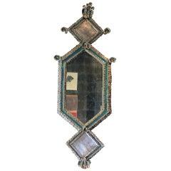 Rocaille Blue Glazed Ceramic and Palladium Leaf Lozenge Mirror