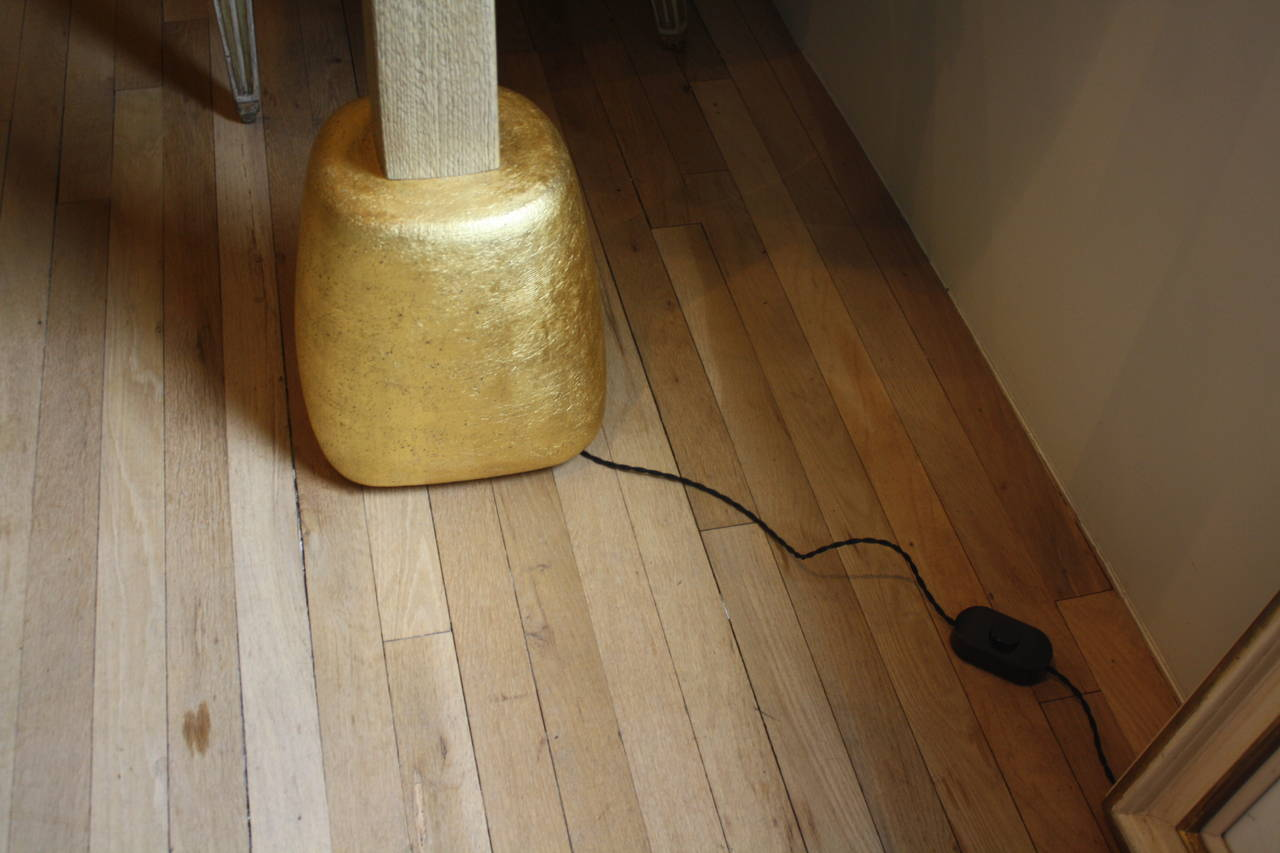 Gilt Hand-Coiled and Gilded Sand-Blasted Pillow Floor Lamp For Sale