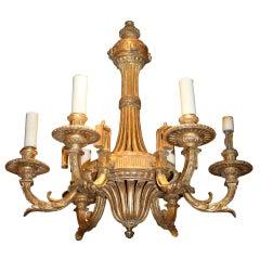 Louis XIV Style Giltwood Six-Light Chandelier