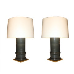 Pair of Grey Glazed Cylindrical Lamps