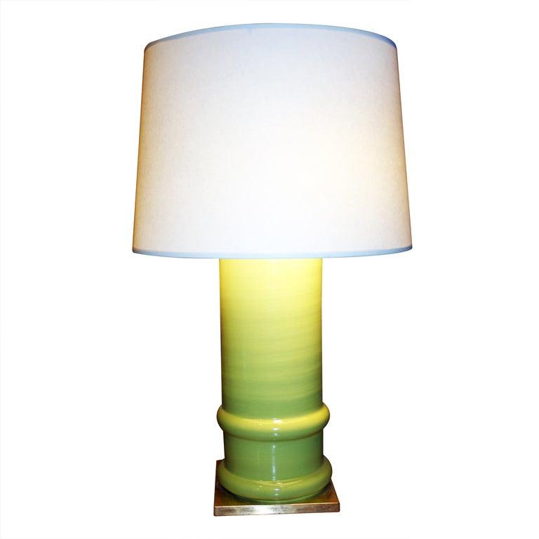 Apple Green Glazed Ceramic Cylindrical Lamp