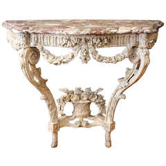 Louis XV Carved Gesso Console with Marble Top