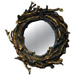 Rocaille Glazed Stoneware Twig Mirror