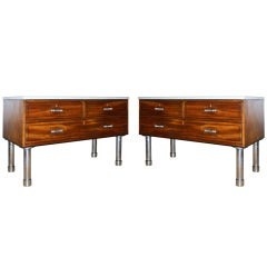 Pair of Mahogany Polished Steel and Polished Cement Commodes