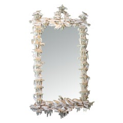 Chinoiserie Rocaille Cream Glazed Ceramic Mirror