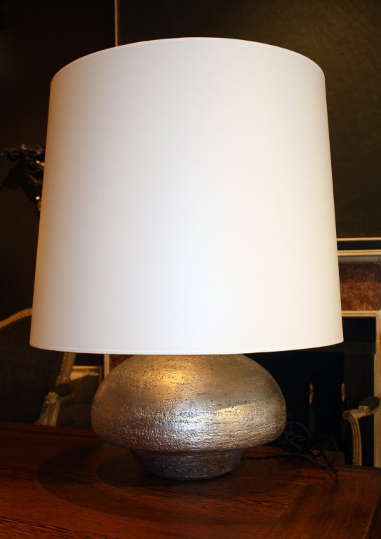 Hand-coiled and silver gilded ceramic lamp by Andrea Koeppel. Custom-made shade.