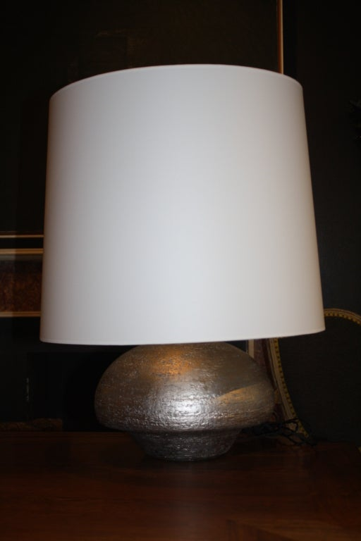 Hand-Coiled and Silver Gilded Ceramic Lamp by Andrea Koeppel In Excellent Condition For Sale In New York, NY