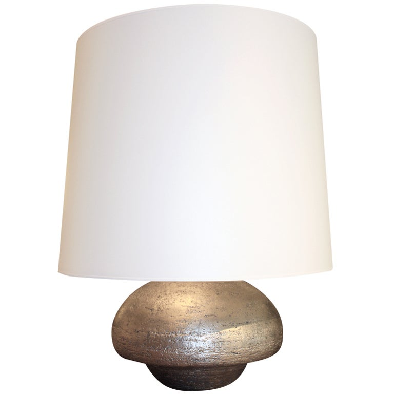 Hand-Coiled and Silver Gilded Ceramic Lamp by Andrea Koeppel For Sale