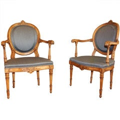 Pair of Italian Walnut Oval Back Armchairs