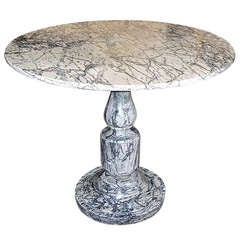 Neoclassical Grey Marble Circular Center Table