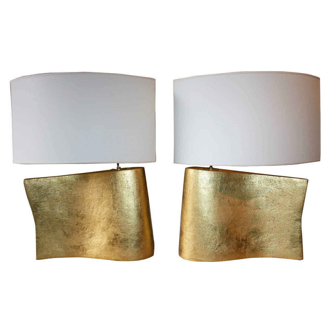 Pair of Hand-Coiled and Gilded Wave Lamps by Andrea Koeppel For Sale