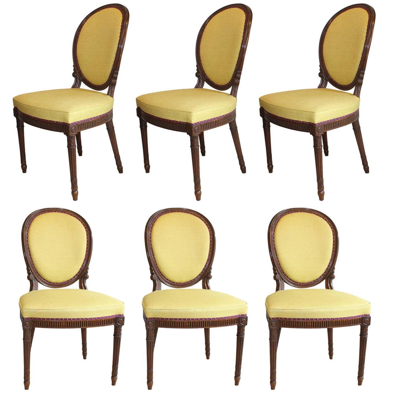 Set of Six Adam Mahogany Side Chairs