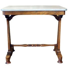 Regency Rosewood Writing Table with Later Marble Top
