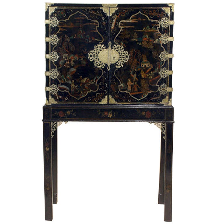 Chinese Export Gilt Bronze-Mounted Gold Decorated and Painted Chest on Stand