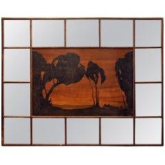Art Nouveau Inlaid Landscape Mirror