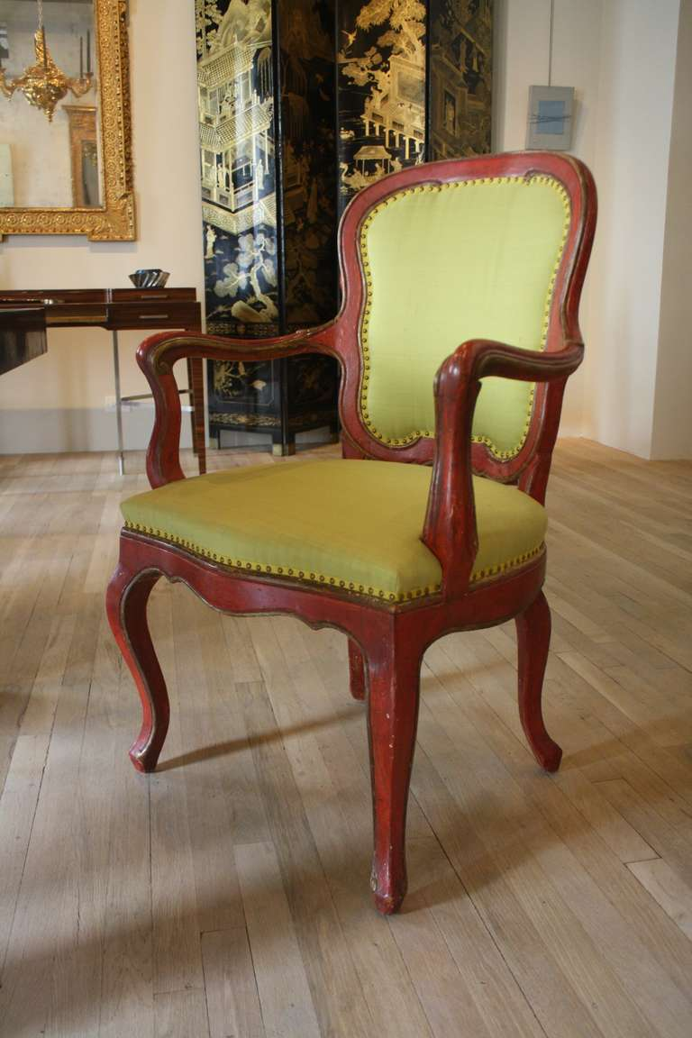 Set Of Eight Rococo Red Painted Dining Chairs At 1stdibs