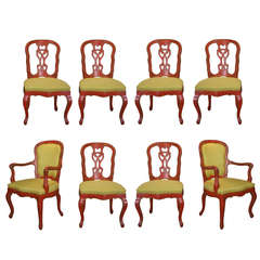 Set of Eight Rococo Red Painted Dining Chairs