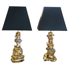 Pair of Ceramic Candlesticks Mounted as Lamps by Eve Kaplan