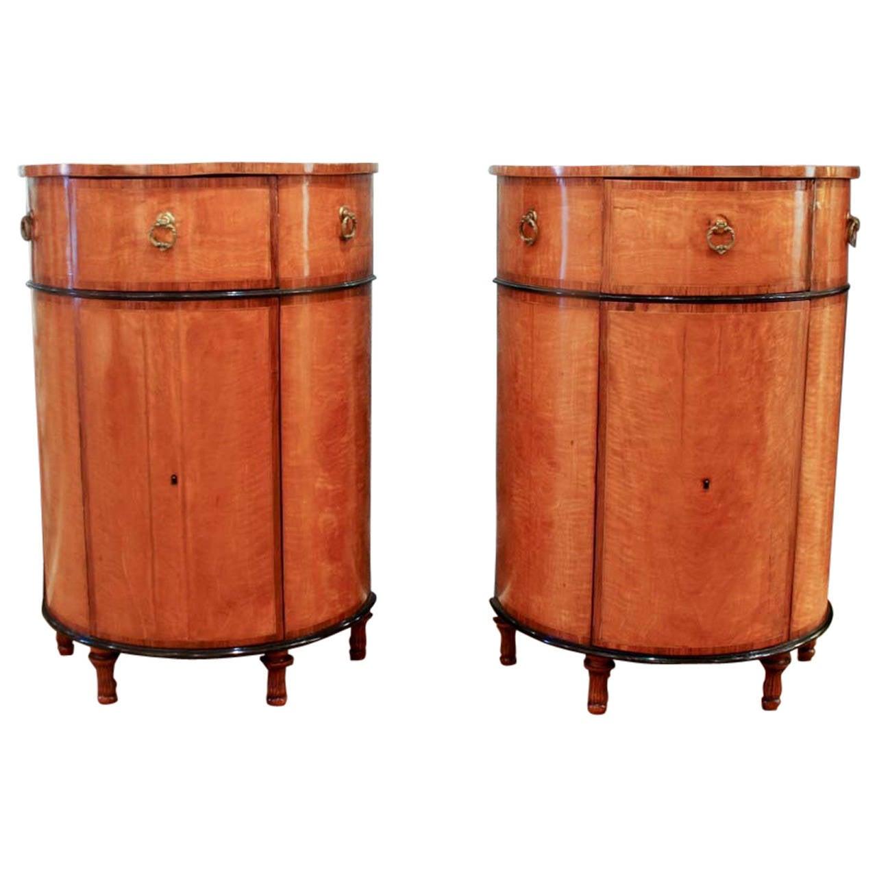 Pair of Sheraton Inlaid Satinwood Demilune Cabinets