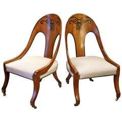 Pair of Regency Inlaid Mahogany Spoonback Chairs