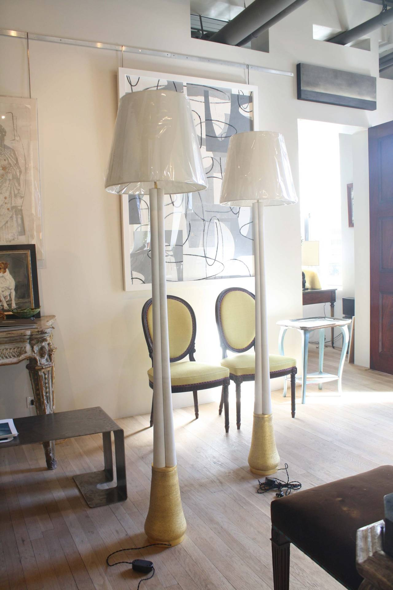 Gilt Gilded Ceramic and Parchment Trefoil Floor Lamps by Andrea Koeppel For Sale