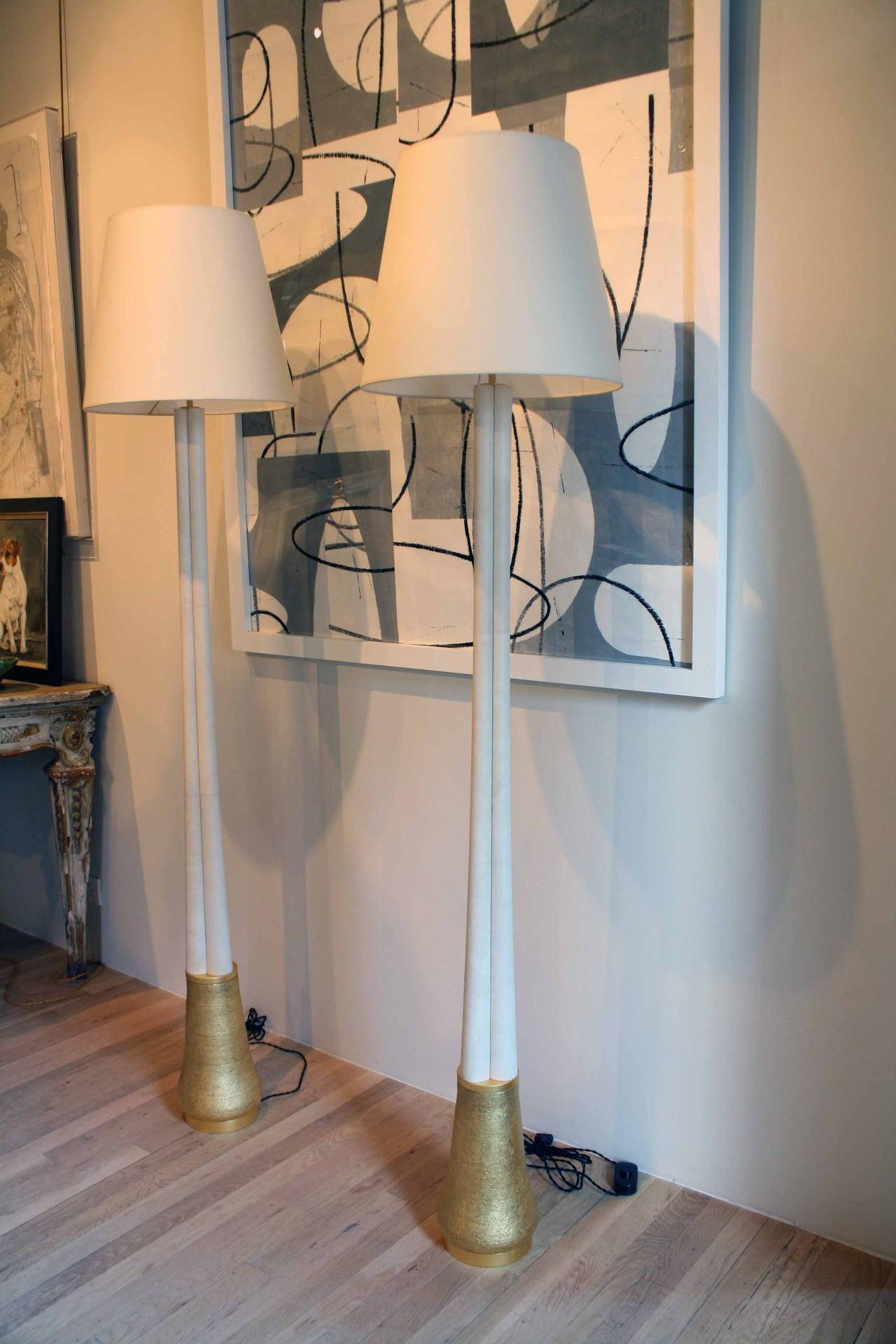 Contemporary Gilded Ceramic and Parchment Trefoil Floor Lamps by Andrea Koeppel For Sale