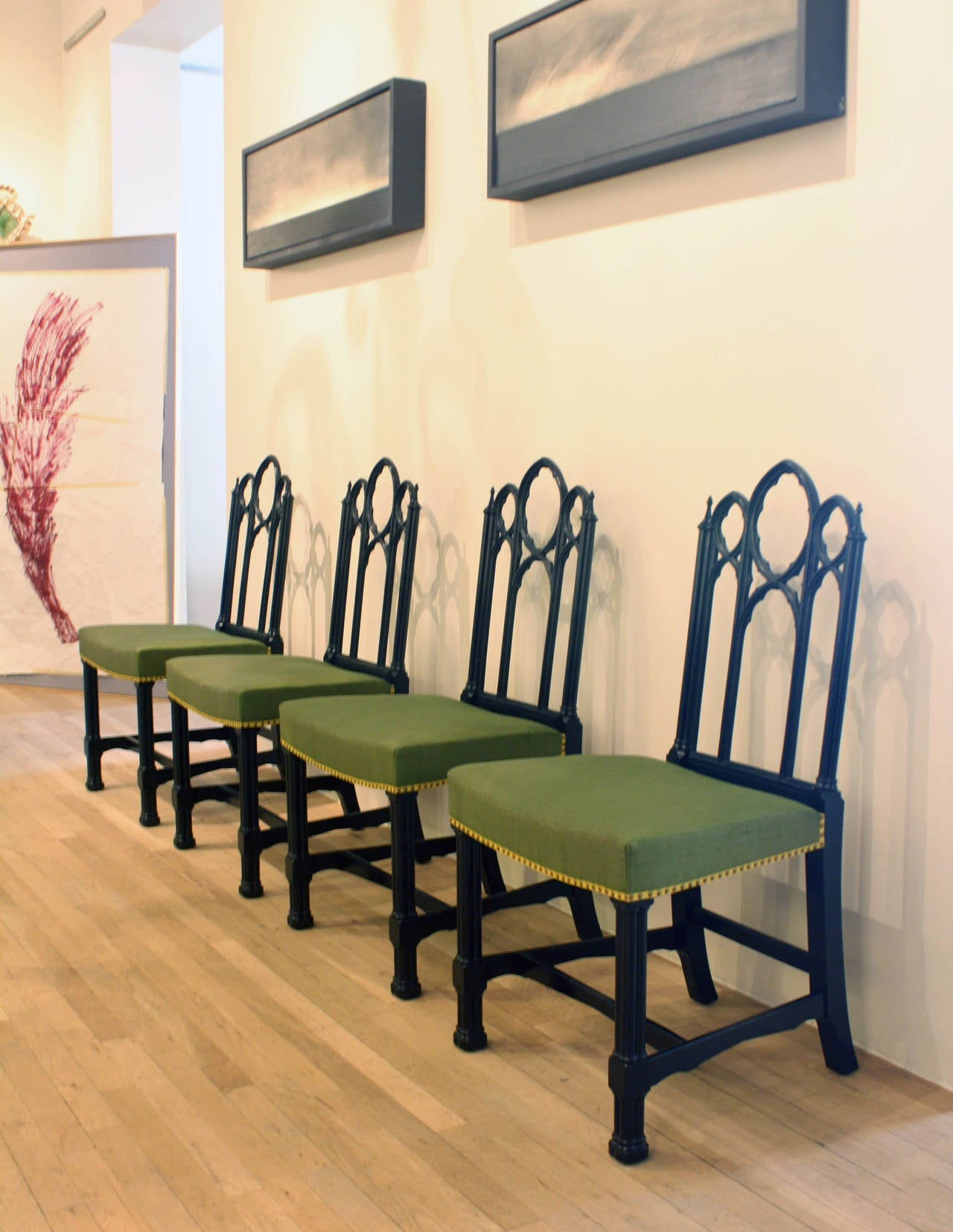 19th Century Set of Four Ebonized Gothic Side Chairs For Sale