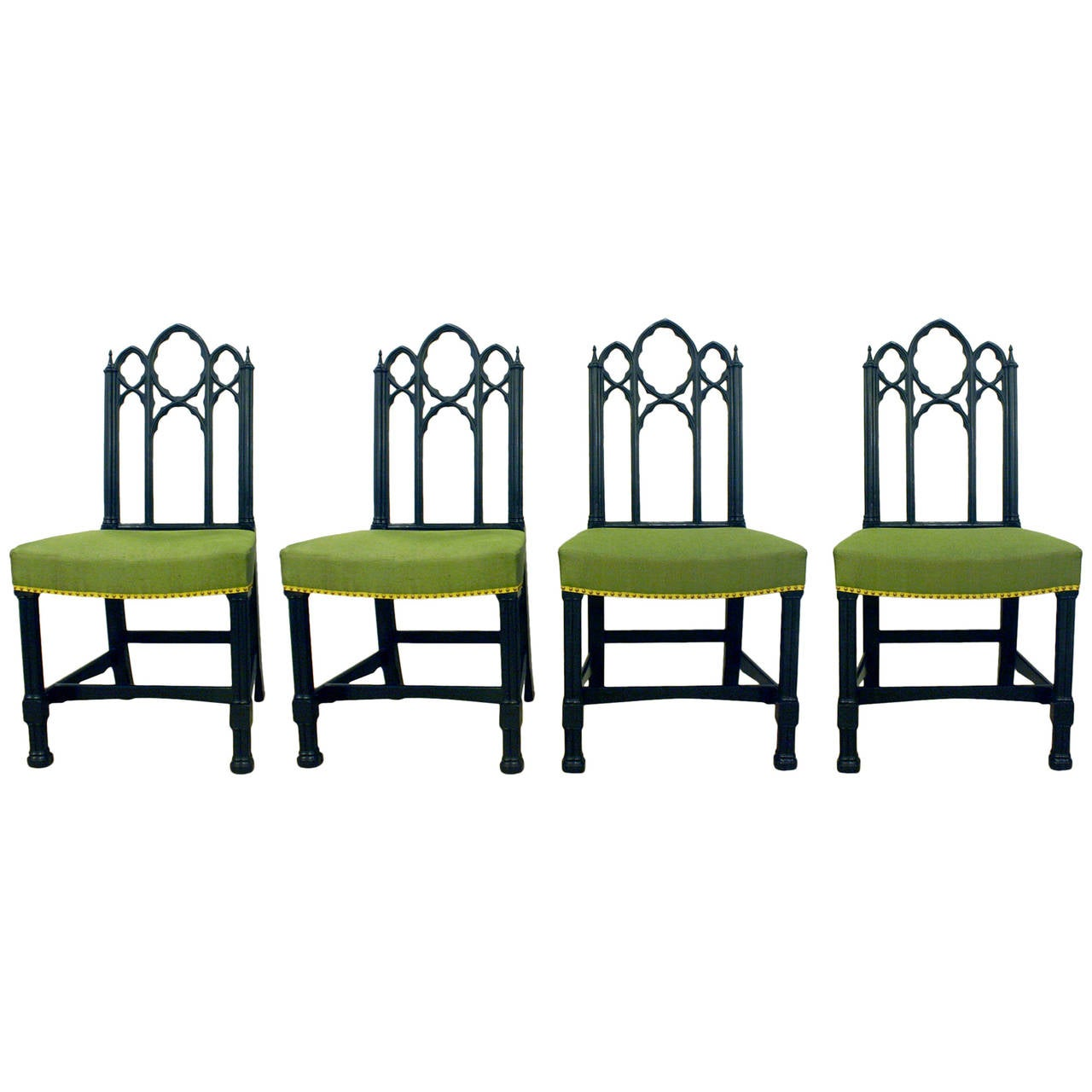 Set of Four Ebonized Gothic Side Chairs